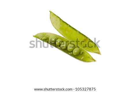 organically grown peas isolated on white background