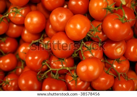 Organically grown red cherry tomatoes background
