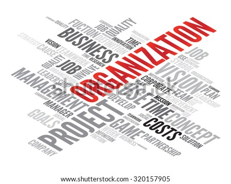 ORGANIZATION business concept in word tag cloud - stock photo