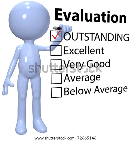 Organization manager customer or education system teacher marks check in OUTSTANDING evaluation form box with marker - stock photo