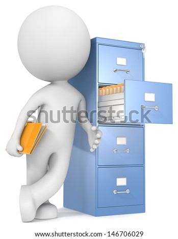 Organization. The Dude leaning against file cabinet. Holding file. - stock photo