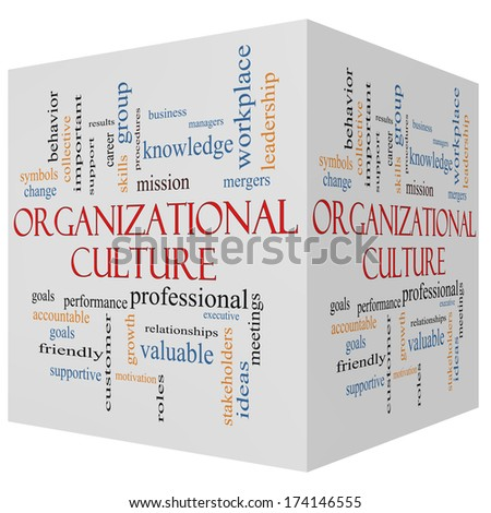 Organizational Culture 3D cube Word Cloud Concept with great terms such as roles, executive, mergers, mission and more. - stock photo
