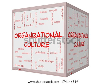 Organizational Culture Word Cloud Concept on a 3D cube Whiteboard with great terms such as roles, executive, mergers, mission and more. - stock photo