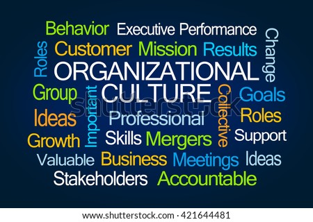 Organizational Culture Word Cloud on White Background - stock photo