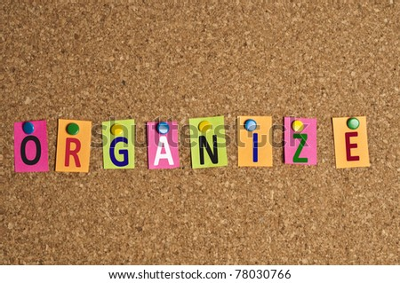 Organize word made of post it - stock photo