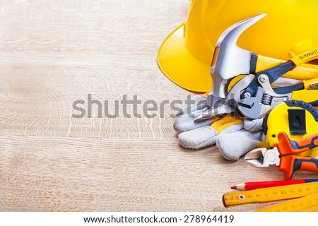 organized copyspace with construction tools  - stock photo