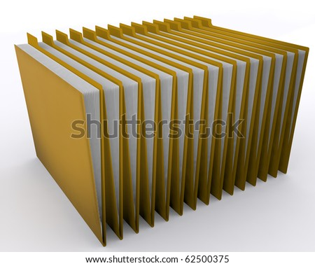 Organized folders in a row, Over white background. - stock photo