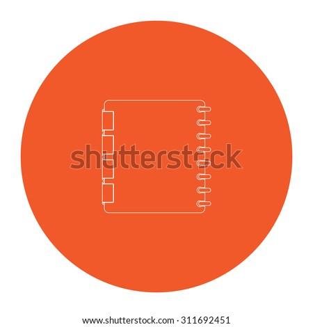 Organizer. Flat white symbol in the orange circle. Outline illustration icon - stock photo