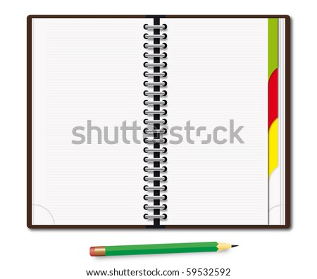 Organizer with the green pencil - stock photo