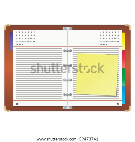 Organizer with the yellow sticky note. - stock photo