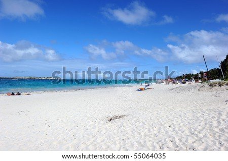 Orient bay, St Martin, Caribbean. It is considered as the most beautiful beach on the island. - stock photo