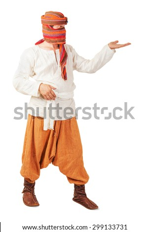 Orient peasant wearing in national clothes isolated - stock photo