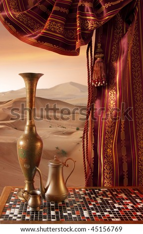 Orient Still-Life on a Sands background - stock photo