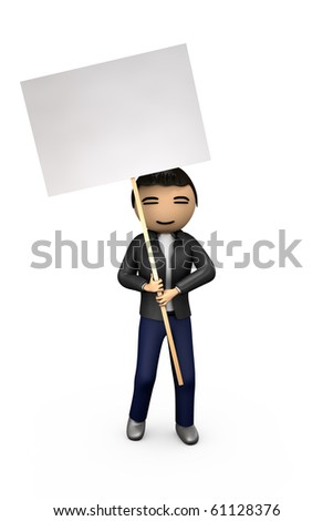Oriental Asian 3D Guy Holding Blank Protest Placard - stock photo