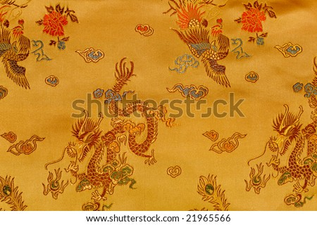 Oriental background with embroidered ornament. - stock photo