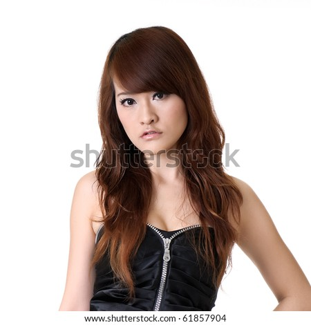 Oriental beauty, closeup portrait of beautiful woman on white background. - stock photo
