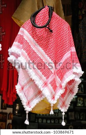 Oriental, bedouin, arabian keffiyah pattern decoration - stock photo