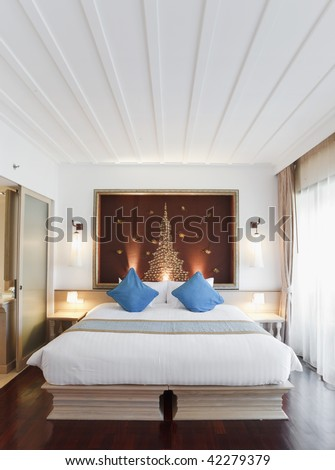 oriental bedroom in the morning - stock photo
