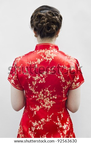 Oriental Cheongsam or mandarin gown, is formal wear for important occasions. Red is lucky color of Chinese, red cheongsam usually wear by during new year day or wedding.