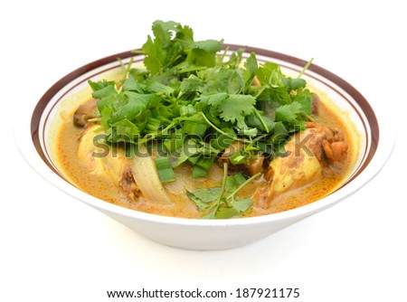 Oriental Chicken and coconut Soup, vietnamese food - stock photo