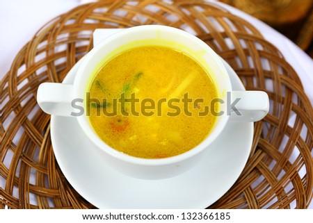 Oriental Chicken Laksa Soup - stock photo