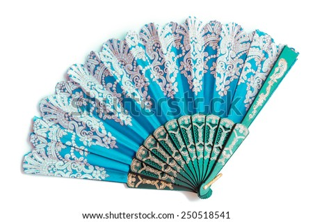oriental chinese fan isolated on white background - stock photo