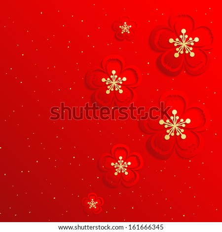 Oriental Chinese New Year Cherry Blossom Background - stock photo