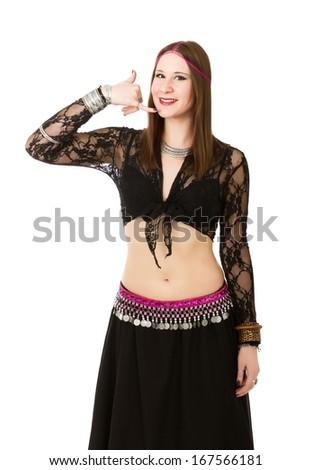 oriental dancer positive moment - stock photo