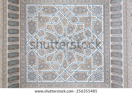 Oriental decoration inside of the Grand Mosque in Kuwait City - stock photo