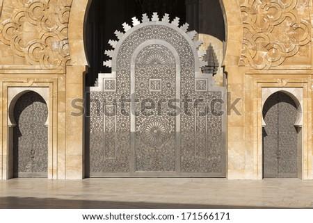 Oriental doors Hassan II Mosque, Casablanca - stock photo