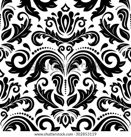 Oriental  fine texture with damask, arabesque and floral elements. Seamless abstract background. Black and white pattern - stock photo