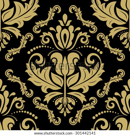 Oriental  fine texture with golden damask, arabesque and floral elements. Seamless abstract background