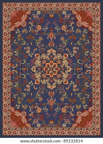 Oriental Floral Carpet Design - Illustration - stock photo