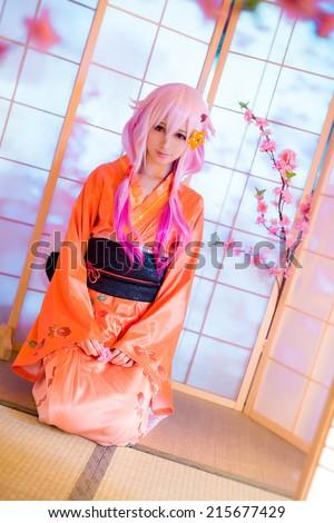 Oriental girl model cosplay  sakura Washitsu  tatami room japanese style - stock photo