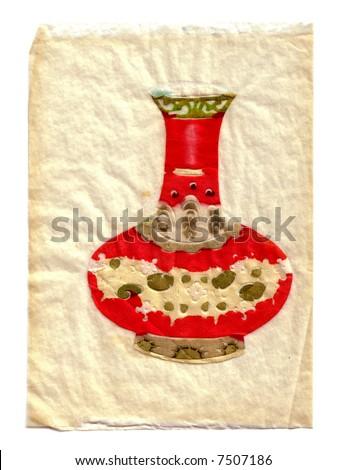 Oriental hand-made cut-paper art. - stock photo