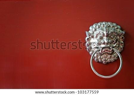Oriental lion's door - stock photo