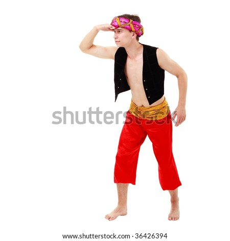 Oriental man in turban on a white background. - stock photo