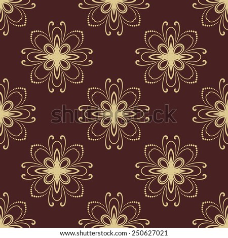 Oriental  pattern with damask, arabesque and floral golden elements. Seamless abstract background - stock photo