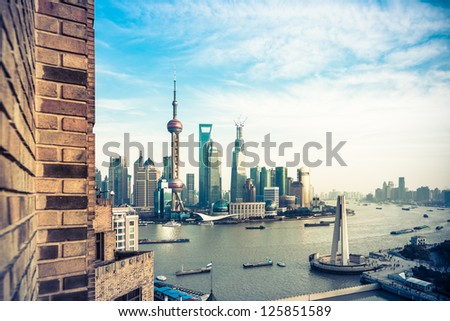 Oriental Pearl Tower and Shanghai World Financial Center (SWFC) & Jin Mao Tower with shanghai skyline. - stock photo
