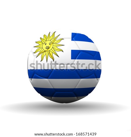 Oriental Republic of Uruguay (Eastern Republic of Uruguay or Republic East of the Uruguay) flag textured on soccer ball , clipping path included