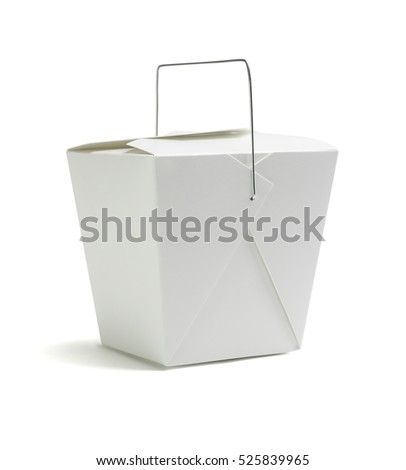 Oriental Restaurant Takeaway Box on White Background