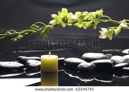 Oriental spa with branch green orchid , candle and zen pebbles