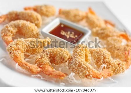 Oriental style fried prawns - stock photo