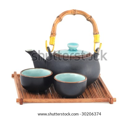 Oriental style teapot and two tea cups on a wooden tray