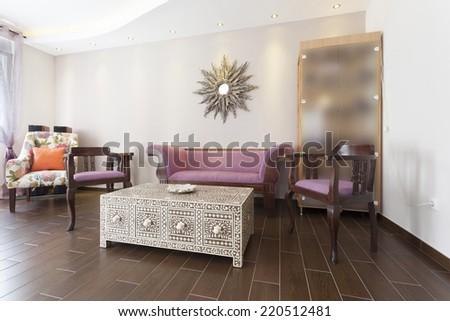 Oriental styled restaurant interior - stock photo
