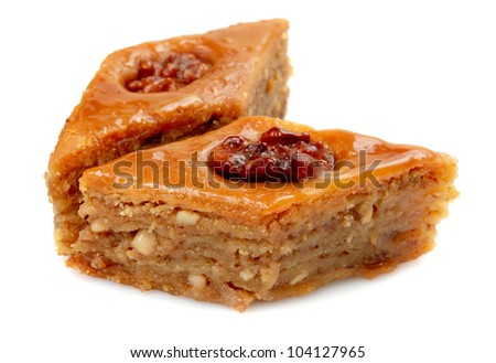 Oriental sweets baklava on a white background - stock photo
