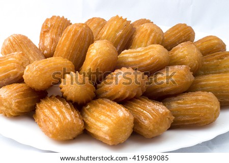 Oriental sweets on a white background Bama - stock photo