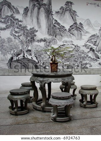 Oriental table, ready for tea serving - stock photo