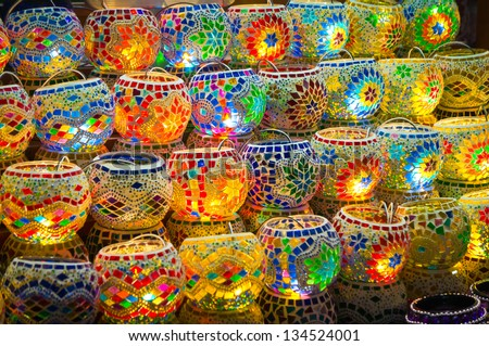 Oriental turkish lanterns at Istanbul market, Turkey - stock photo