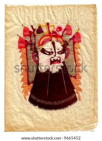 Oriental warrior hand-made cut-paper art. - stock photo